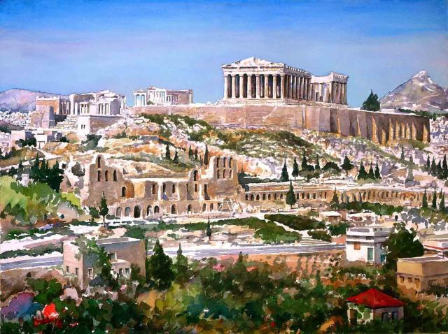 Målning av Akropolisklippan i Aten. På höjden syns Parthenon-templet.