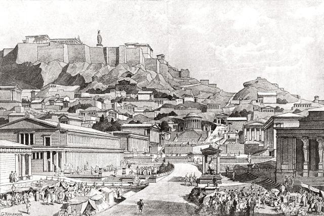 Det stora torget i Aten - Agoran - runt år 0.