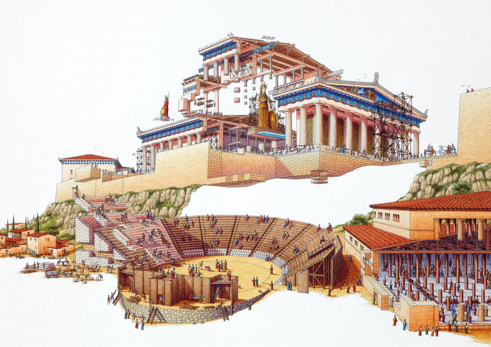 Några av de centrala byggnaderna i Aten under antiken.