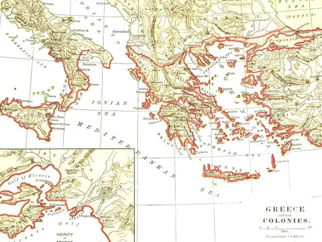 Karta över antika Greklands utsträckning.